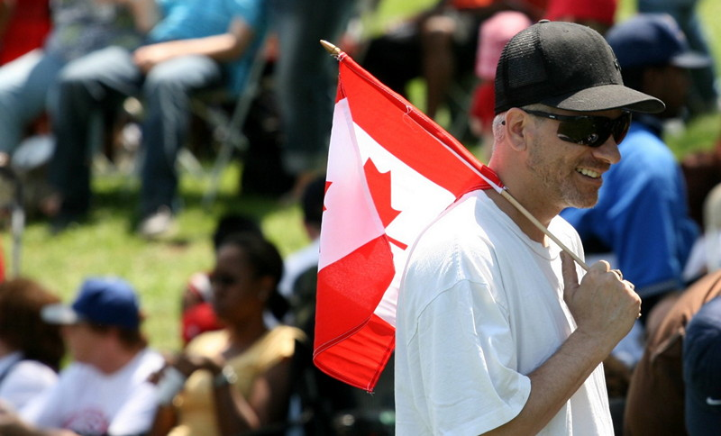 Man with Canadian flag
