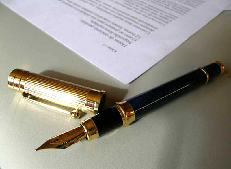Document and a pen