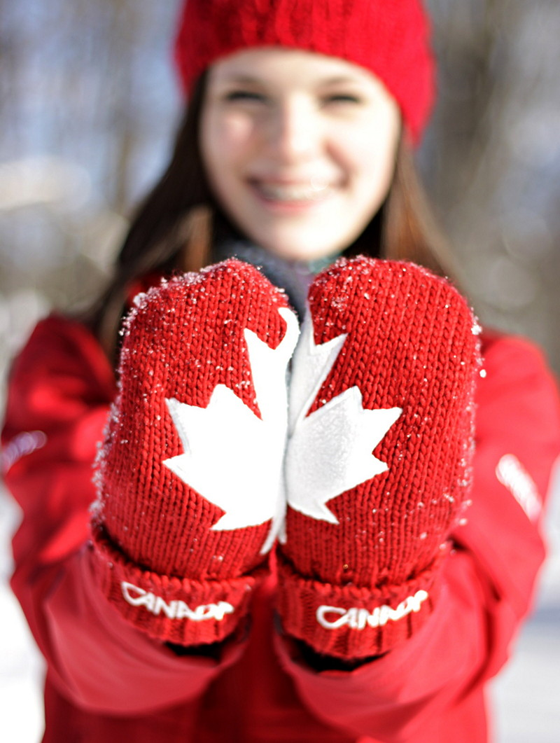 Girl with Canadian mittens