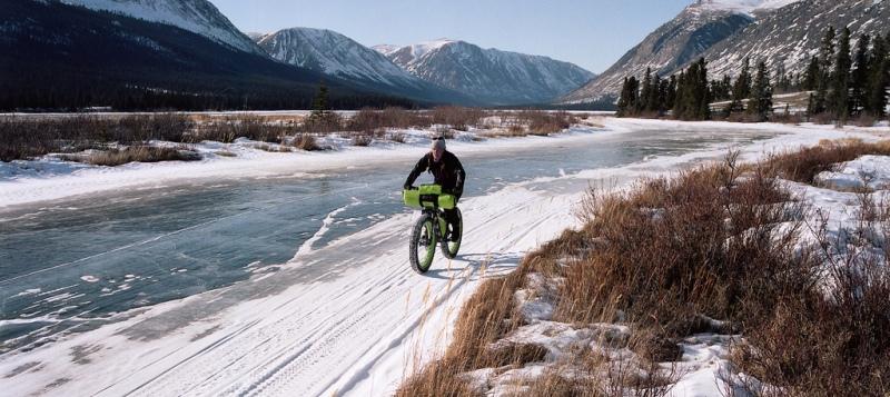 Biker on snow