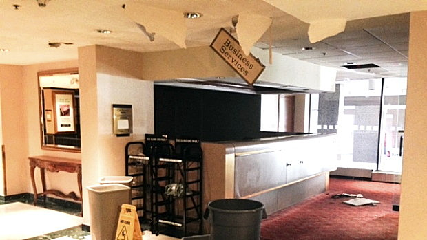 Hotel lobby damage