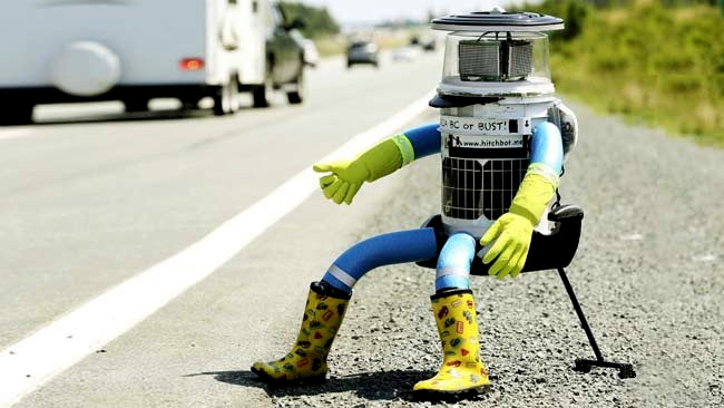 Hitch bot on roadside